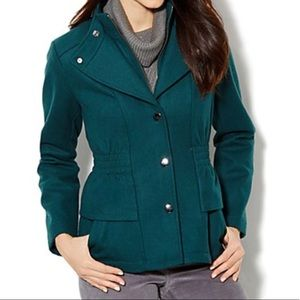 Wool New York & Company Coat in Hunter Green